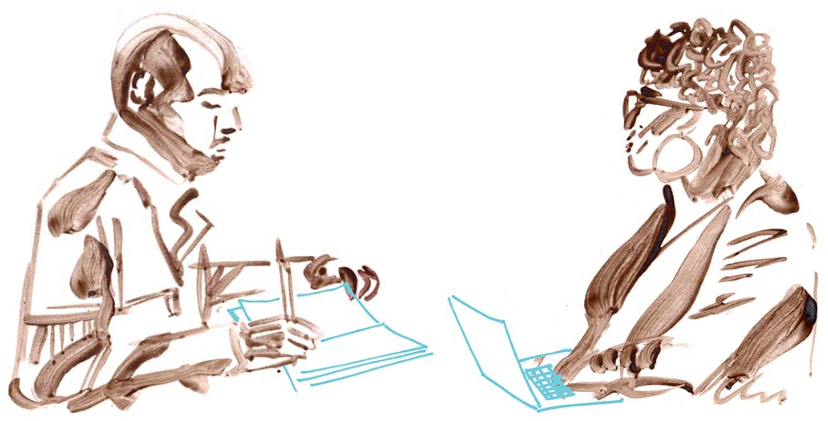 Drawing of two people facing each other, one with a notebook and the other one with a laptop computer